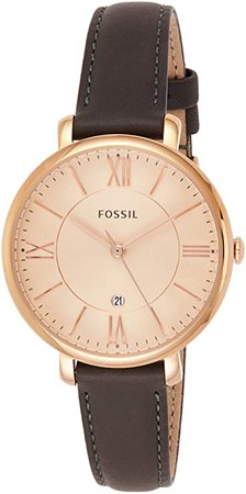 Fossil Women's ES3707 Jacqueline Three Hand Leather Watch - Grey and Rose Gold-Tone: Fossil: Watches