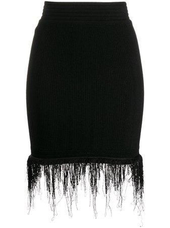 Balmain Knitted Fringed Skirt - Farfetch