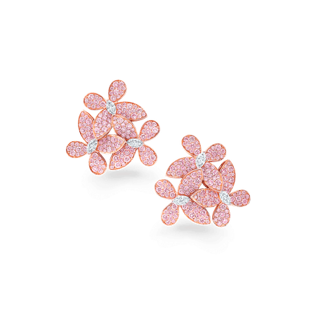 Triple Pavé Butterfly Cluster Earrings, Pink and white diamond | Graff