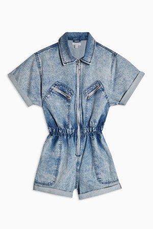 Acid Wash Zip Playsuit   Topshop blue