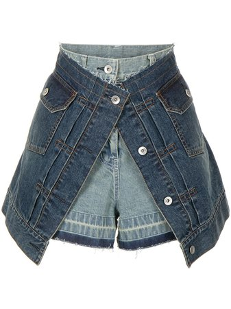 Shop sacai layered denim shorts with Express Delivery - FARFETCH