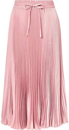 Pleated Satin Midi Skirt - Pink