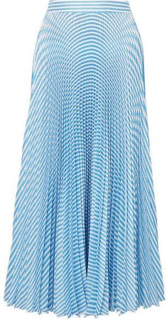 Solaire Pleated Striped Satin-twill Midi Skirt - Blue