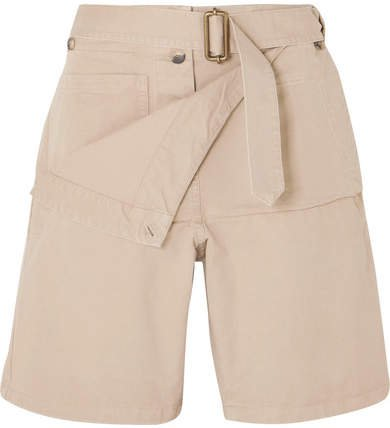Belted Cotton-drill Shorts - Beige