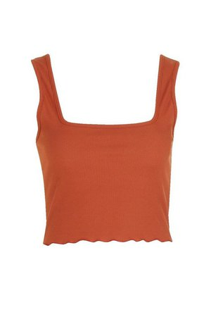 Square Neck Lettuce Hem Crop top | Boohoo