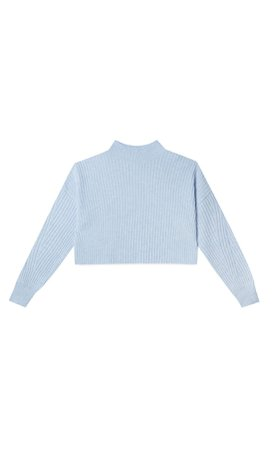 Sky blue Felted cropped sweater - Women's Just in | Stradivarius United States