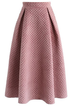 Fancy Sheen Quilted Velvet Skirt in Pink - Skirt - BOTTOMS - Retro, Indie and Unique Fashion