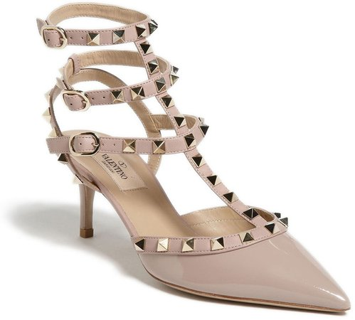 Rockstud Strappy Pointed Toe Pump