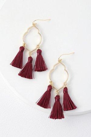 Chic Burgundy Tassel Earrings - Gold Earrings - Boho Earrings