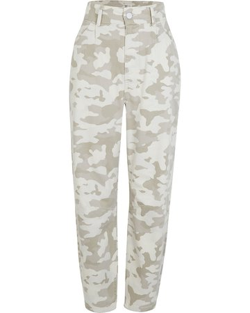 Beige camo print tapered trousers   River Island