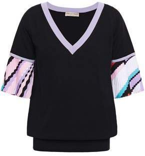 Printed Crepe De Chine-paneled Cotton-blend Top
