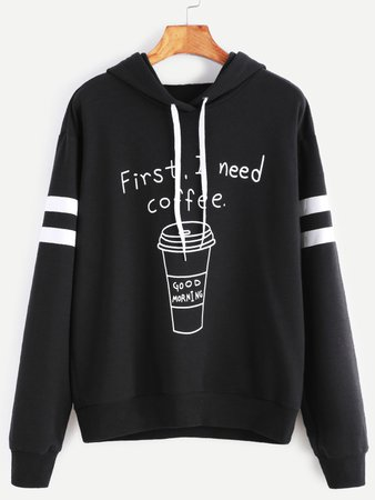 First, I need coffee. Good morning. (SHEIN Striped Sleeve Hoodie)