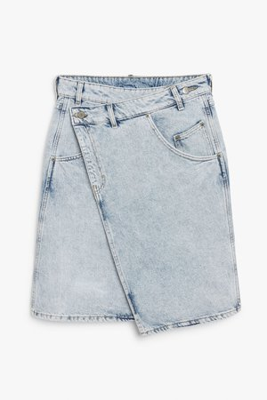 Asymmetric denim skirt - Light blue - Skirts - Monki WW