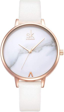 Amazon.com: SHENGKE Women Watches Leather Band Luxury Quartz Watches Girls Ladies Wristwatch Relogio Feminino (K0039-White): Watches