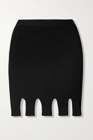 Black Cutout ribbed-knit mini skirt   Bottega Veneta   NET-A-PORTER