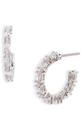 Nordstrom Cubic Zirconia Marquise Hoop Earrings | Nordstrom