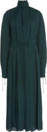 Victoria Beckham Mock Neck Pleated Midi Dress