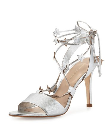 Loeffler Randall Arielle Strappy Stars Sandals, Silver | Neiman Marcus