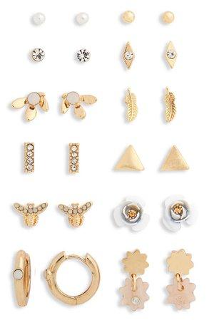 Set of 12 Mixed Stud & Huggie Hoop Earrings | Nordstromrack