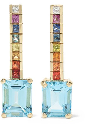 Mateo | Somewhere Over the Rainbow 14-karat gold multi-stone earrings | NET-A-PORTER.COM