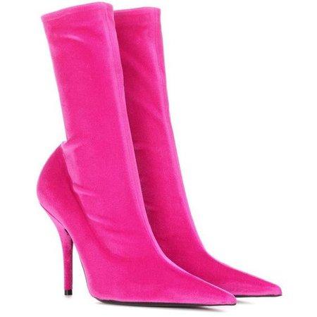 Balenciaga Knife Velvet Ankle Boots