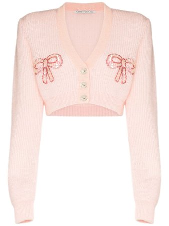 Alessandra Rich Bow Appliqué Cropped Cardigan Ss20