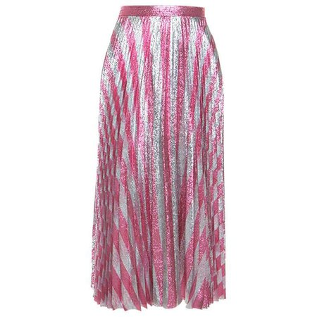 Gucci Metallic Pink Striped Pleated Midi Skirt M For Sale at 1stDibs