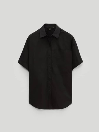 Black short sleeve poplin shirt - Women - Massimo Dutti