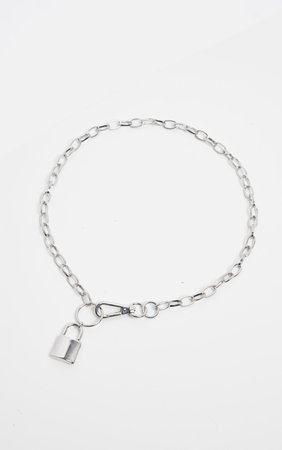 Silver Chunky Clasp And Padlock Chain Necklace   PrettyLittleThing USA