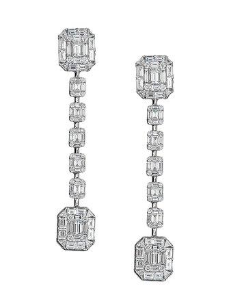 Zydo Mosaic 18K White Gold & Diamond Drop Earrings