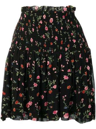 Ganni floral pattern smock skirt - Black