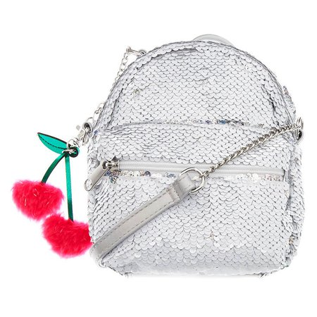 Reversible Sequin Mini Backpack Crossbody Bag - White | Claire's US