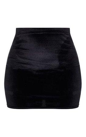 Black Basic Velvet Mini Skirt | Skirts | PrettyLittleThing