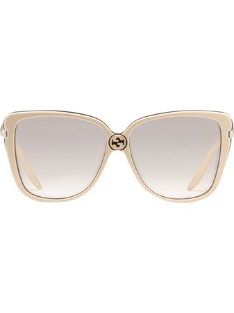 Shop Gucci Eyewear oversized square frame sunglasses with Express Delivery - FARFETCH