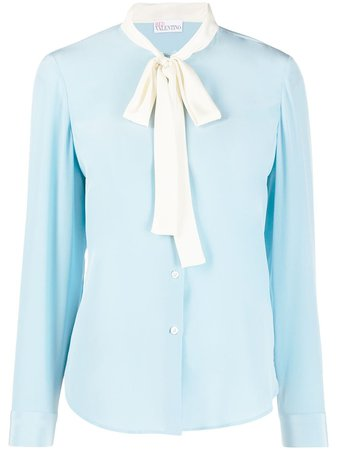 Shop blue RED Valentino pussy-bow blouse with Express Delivery - Farfetch