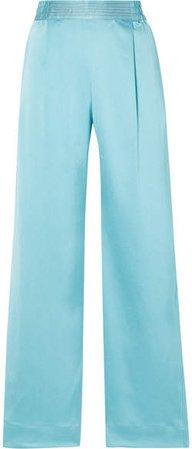 Jelena Satin Wide-leg Pants - Sky blue