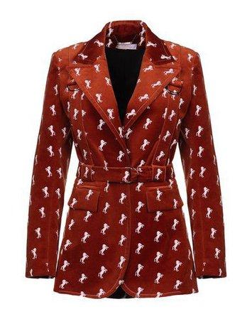 chloe rust blazer horse print jacket