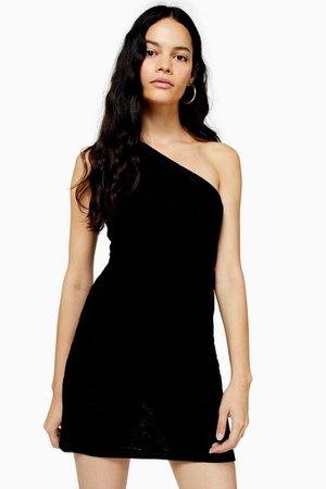 Black One Shoulder Mini Dress | Topshop