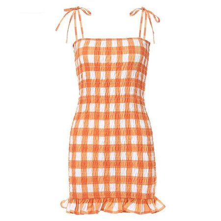 Orange Plaid Frill Dress - Own Saviour