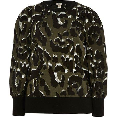Khaki leopard print sweatshirt | River Island