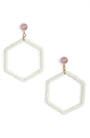 BP. Beaded Hexagon Hoop Earrings | Nordstrom