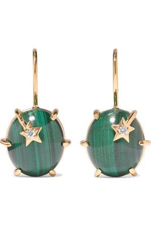 Andrea Fohrman   Mini Galaxy 18-karat gold, malachite and diamond earrings   NET-A-PORTER.COM