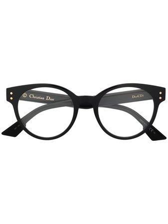 Dior Eyewear Round Logo Glasses - Farfetch