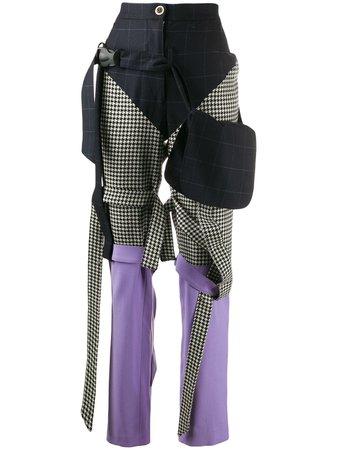 Blue Natasha Zinko Mixed-Print Trousers | Farfetch.com