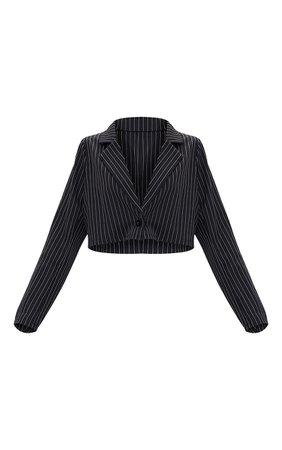 Black Woven Pinstripe Oversized Cropped Blazer   PrettyLittleThing