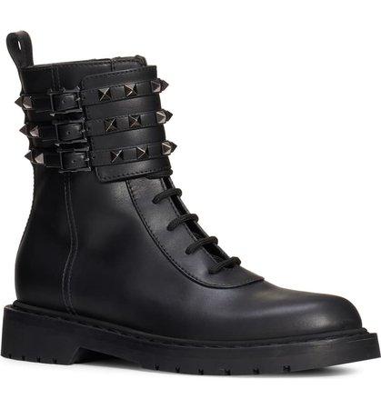 Valentino Garavani Rockstud Buckle Combat Boot (Women) | Nordstrom