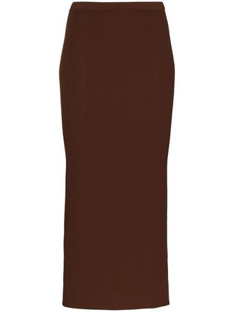 Shop brown Totême x Browns 50 Espera ribbed-knit midi skirt with Express Delivery - Farfetch