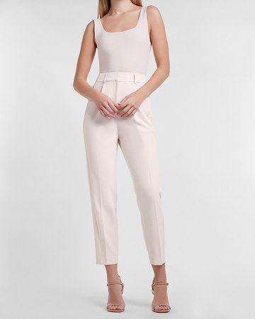 High Waisted Pleated Ankle Pant