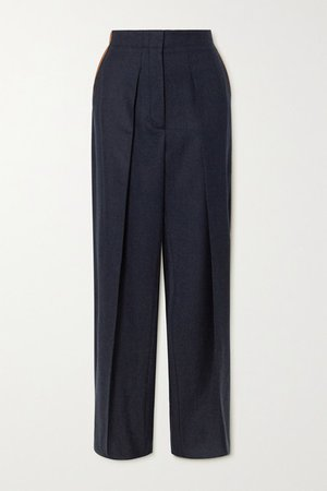 Vegetarian Leather-trimmed Pleated Wool-twill Straight-leg Pants - Navy