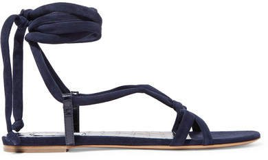 Reeves Suede And Croc-effect Leather Sandals - Navy